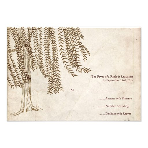 Vintage Brown Willow Tree Wedding RSVP Custom Invites