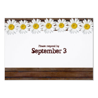 Vintage Brown Wood Daisy Chain rsvp 3.5x5 Paper Invitation Card