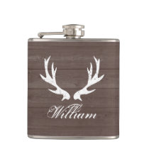 Vintage brown wood grain deer antlers hip flask