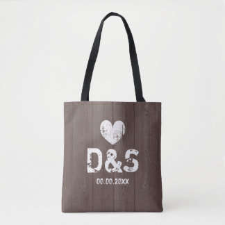 Vintage brown wood grain rustic wedding tote bags