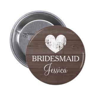 Vintage brown wood grain wedding bridesmaid button