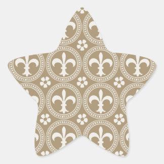 Vintage Brown y flor de lis blanca Pegatinas Forma De Estrella Personalizadas