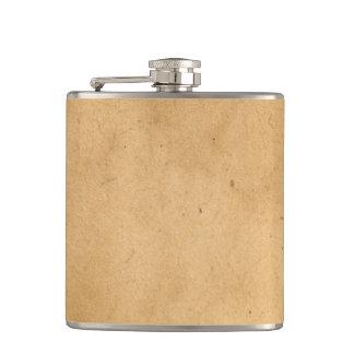 Vintage Brown Yellow Paper Parchment Background Hip Flasks