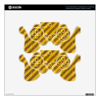 Vintage Brown Yellow Stripes Pattern PS3 Controller Decal
