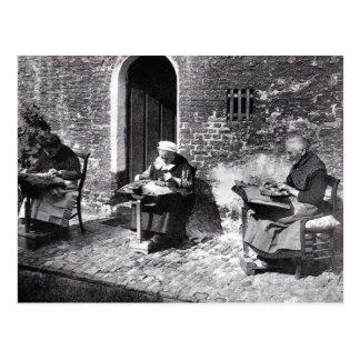 Vintage Bruges Belgium lace makers (old ladies) Postcard