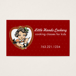 Vintage brunette girl baking cooking biz card