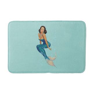 Vintage Brunette Pinup Mermaid in Diamonds Bathroom Mat