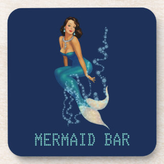 Vintage Brunette Pinup Mermaid in Diamonds Coaster