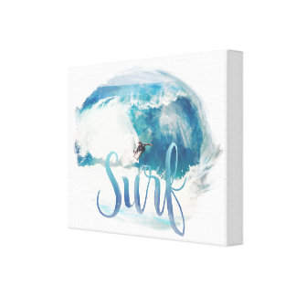 Vintage Brush Style Surf Canvas Print