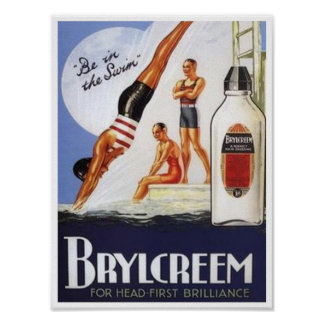 Vintage Brylcreem Be in the Swim Ad Poster
