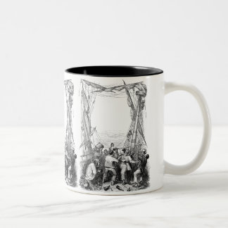 Vintage Buccaneers and a Shipwrecked Pirate Ship Two-Tone Coffee Mug