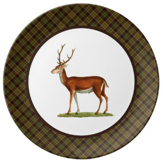 Vintage Buck Deer with Rustic Plaid Porcelain Plate