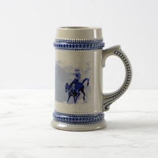 Vintage Bucking Bronco Ceramic Stein 18 Oz Beer Stein