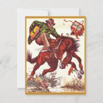Vintage Bucking Bronco Christmas Cowboy Holiday Card