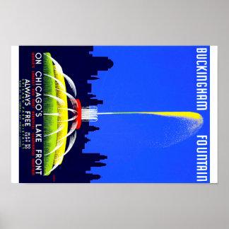 Vintage Buckingham Fountain Chicago WPA Poster