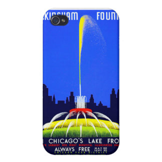 Vintage Buckingham Fountain WPA Poster Cover For iPhone 4