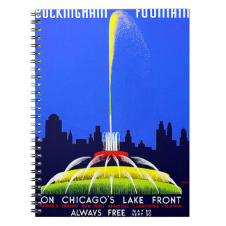 Vintage Buckingham Fountain WPA Poster Spiral Note Book