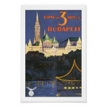 Vintage Budapest Hungary Travel Poster Print