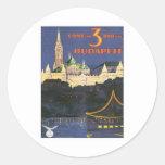 Vintage Budapest Hungría Etiquetas Redondas