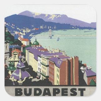 Vintage Budapest Hungría Pegatina Cuadrada