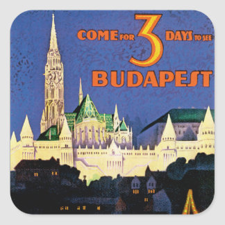 Vintage Budapest Pegatina Cuadrada