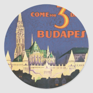 Vintage Budapest Pegatina Redonda