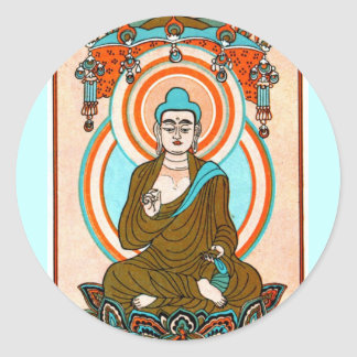 Vintage Buddha Art Classic Round Sticker