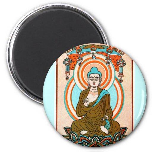 Vintage Buddha Art Refrigerator Magnet