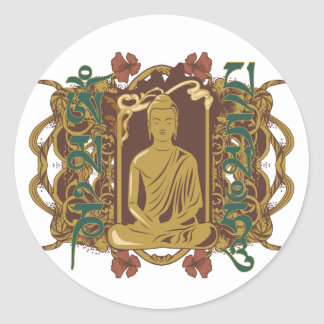 Vintage Buddha Mantra Classic Round Sticker