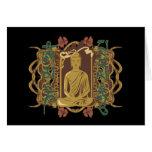 Vintage Buddha Mantra Greeting Card