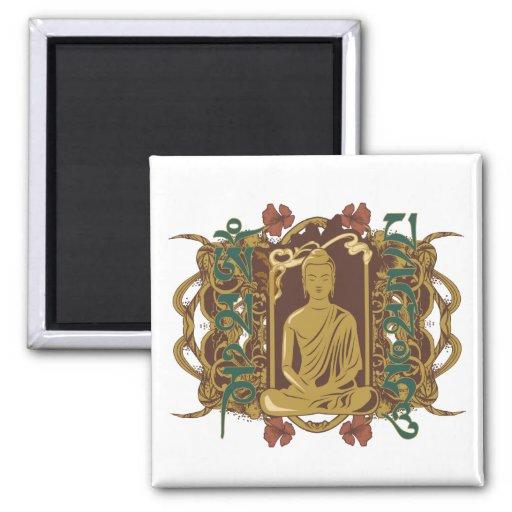 Vintage Buddha Mantra Refrigerator Magnet