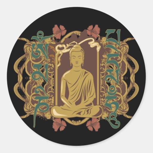 Vintage Buddha Mantra Round Sticker