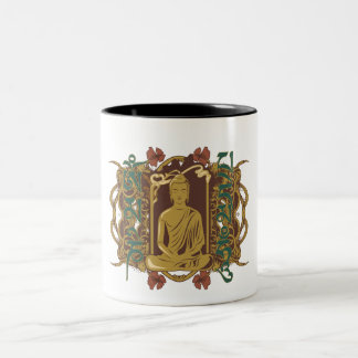 Vintage Buddha Mantra Two-Tone Coffee Mug