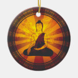 Vintage Buddha Double-Sided Ceramic Round Christmas Ornament