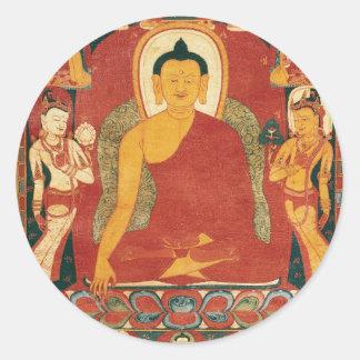 Vintage Buddha Painting Classic Round Sticker