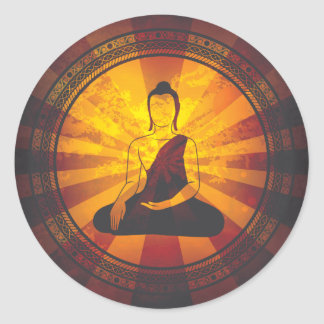 Vintage Buddha Print Classic Round Sticker