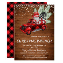 Vintage Buffalo Red Truck Gnomes Christmas Brunch Invitation