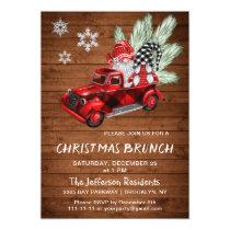 Vintage Buffalo Red Truck Gnomes Christmas Brunch Invitation
