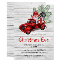 Vintage Buffalo Red Truck & Gnomes Christmas Eve Invitation
