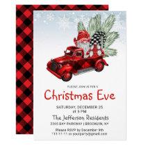Vintage Buffalo Red Truck & Gnomes Christmas Eve Invitation