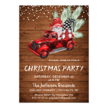 Vintage Buffalo Red Truck & Gnomes Christmas Party Invitation