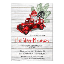 Vintage Buffalo Red Truck & Gnomes Holiday Brunch Invitation