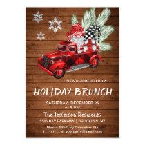 Vintage Buffalo Red Truck & Gnomes Holiday Brunch Invitation