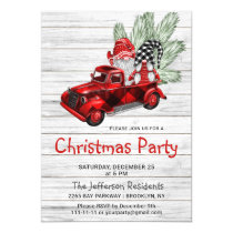 Vintage Buffalo Red Truck & Gnomes Holiday Party Invitation