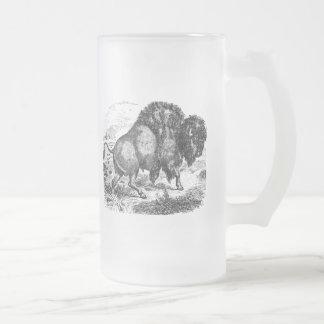 Vintage Buffalo Retro Bison Animal Illustration Frosted Glass Beer Mug