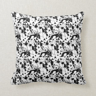 Vintage Buggy 1920's Deco Pattern Black Throw Pillow