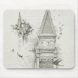 Vintage Building Steeple and Birds Print Mouse Pad