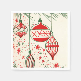 Vintage bulbs Christmas retro party napkins