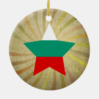 Vintage Bulgarian Flag Swirl Double-Sided Ceramic Round Christmas Ornament