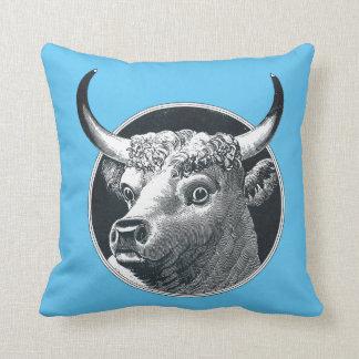 Vintage Bull Cow Head Cotton Throw Pillow 16x16